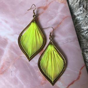 Vintage neon yellow handmade earrings
